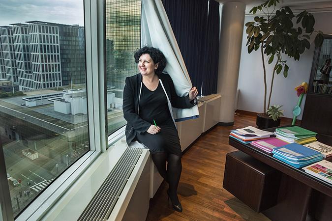20141030 Brussel, Belgie Annemie Turtelboom is een Vlaamse politica van Open Vld. Ze is de huidige Vlaams minister van Financiën, Begroting en Energie.